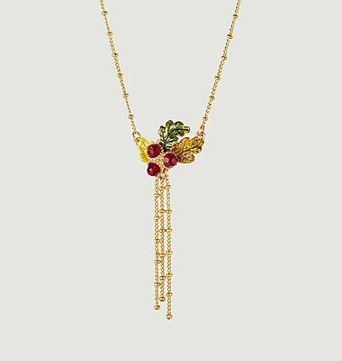 Collier avec pendentif glands et feuilles de chêne et chaînes