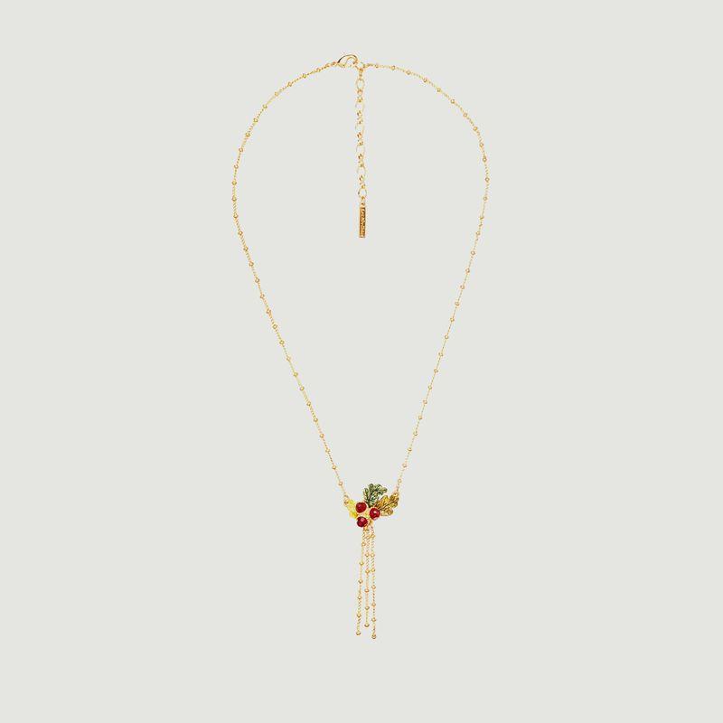 Collier avec pendentif glands et feuilles de chêne et chaînes - Les Néréides