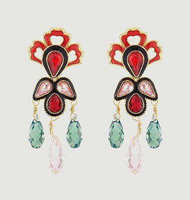 Boucles d'oreilles pendantes tiges Eté Indien