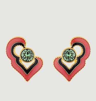 Boucles d'oreilles tiges cœur Eté Indien