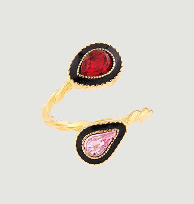 Bague ajustable Toi Et Moi Eté Indien avec cristaux