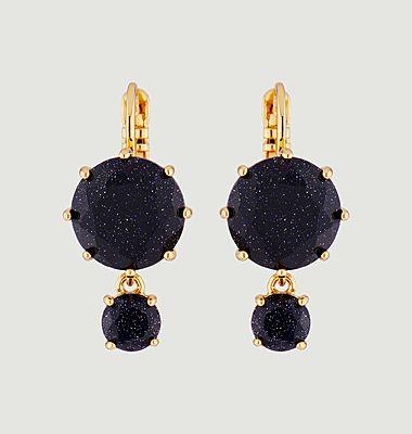 Boucles d'oreilles dormeuses 2 pierres rondes La Diamantine