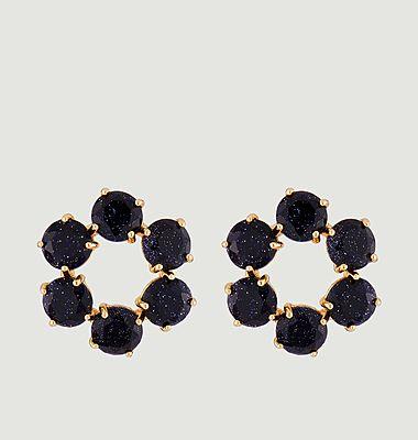 Boucles d'oreilles créoles tiges 6 pierres La Diamantine
