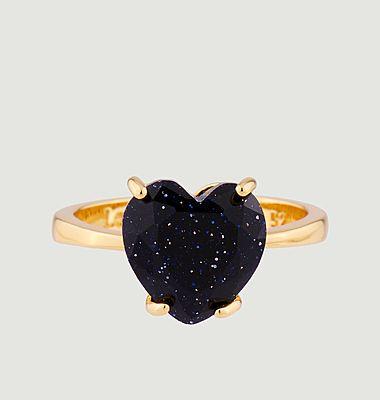 Bague solitaire pierre cœur La Diamantine