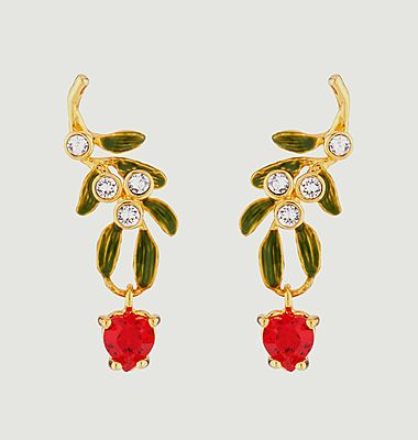 Heart-shaped mistletoe branch dangling stud earrings