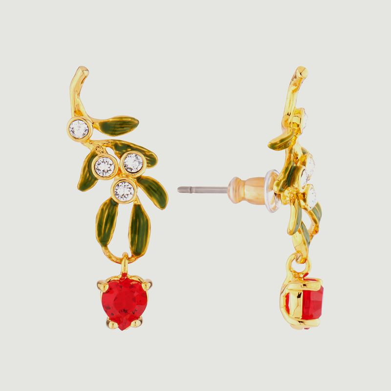 Boucles d'oreilles pendantes tiges branche de gui en coeur - Les Néréides