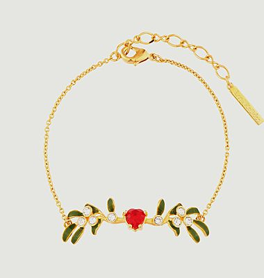 Heart-shaped mistletoe branch fine bracelet