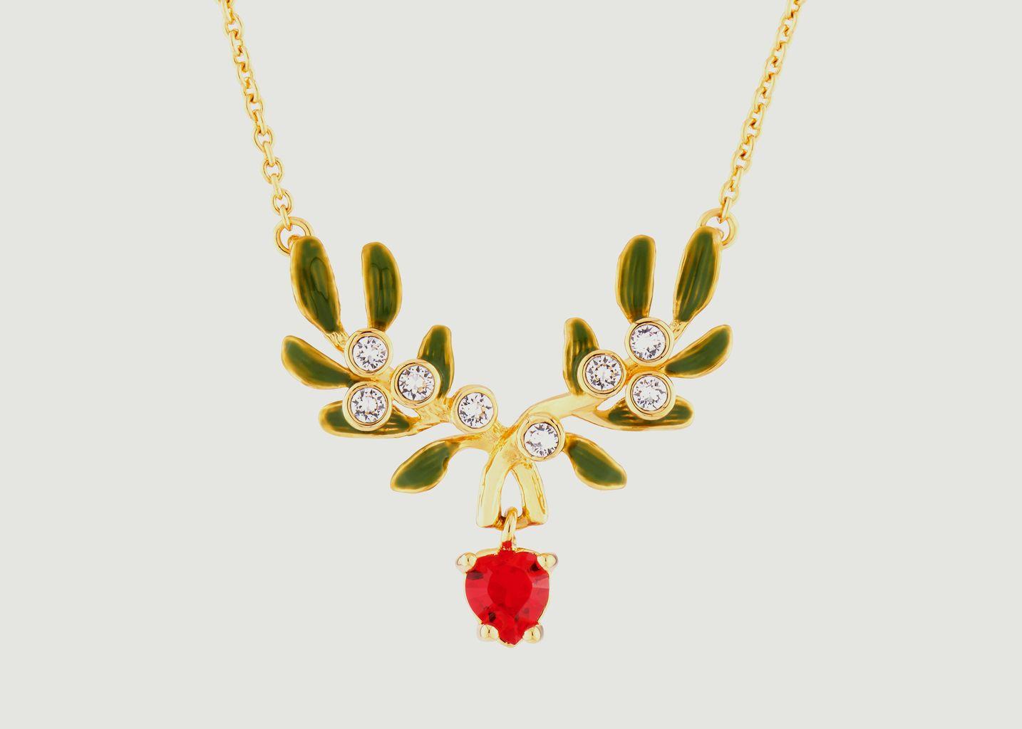 Collier fin avec pendentif branche de gui en cœur - Les Néréides