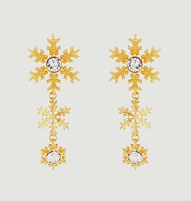 Boucles d'oreilles tiges pendantes flocons de neige