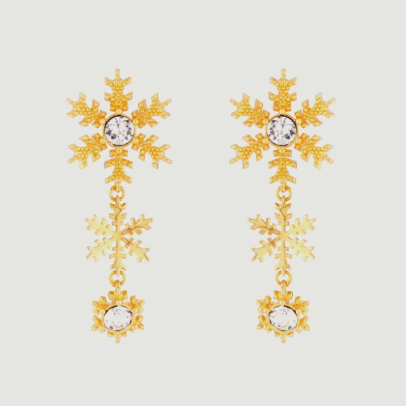 Boucles d'oreilles tiges pendantes flocons de neige - Les Néréides