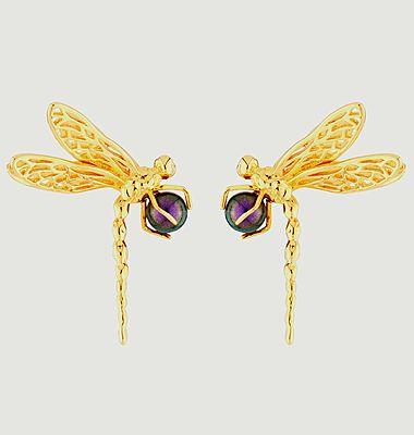 Boucles d'oreilles tiges libellule et perle iridescente