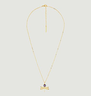 Collier pendentif petite libellule et perle iridescente