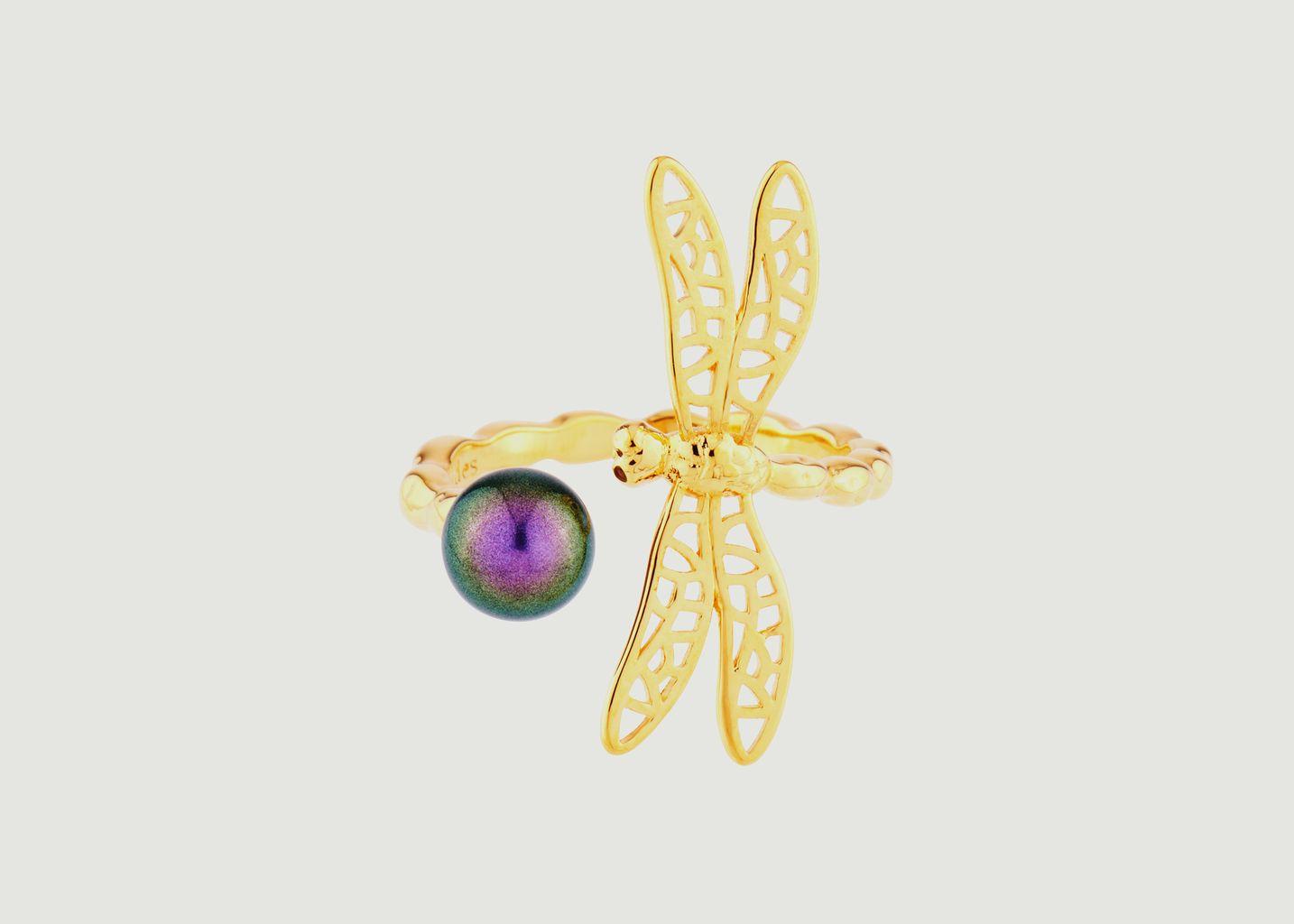Bague ajustable petite libellule et perle iridescente - Les Néréides