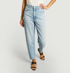 Loose taper high waist washed jeans