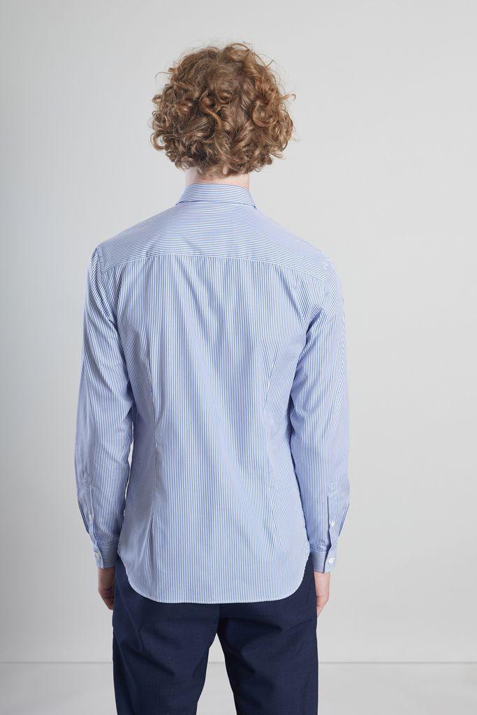 Chemise popeline à rayures bleu pétrole - L'Exception Paris