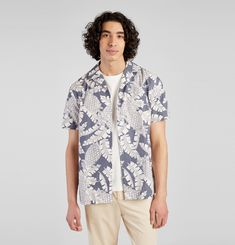 Printed Short Sleeve Shirt in Japanese cotton