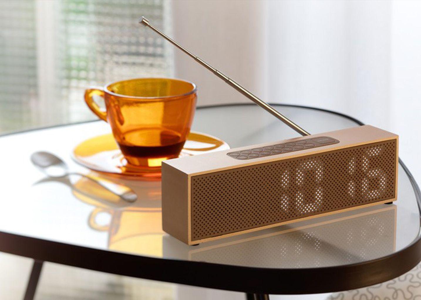 Radio Réveil Titanium Bamboo - Lexon Design