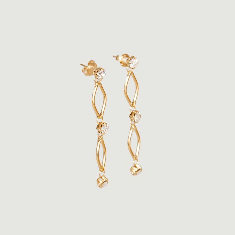 Boucles d'oreilles longues avec zircons Gloria - Louise Damas