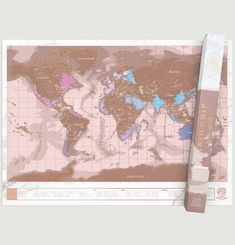 Scratch Map in Rose Gold