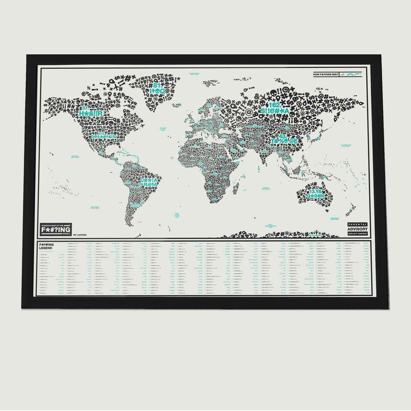 Carte À Gratter Insultes Scratch Map™ Of The F*#?ing World - Luckies