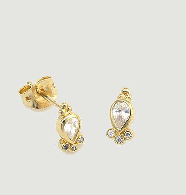 Boucles d'oreilles puces laiton plaqué or Bindi Antoinette