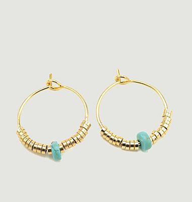 Boucles d'oreilles créoles avec howlite turquoise Josephine