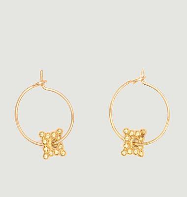 Boucles d'oreilles minis créoles laiton plaqué or Charmantes