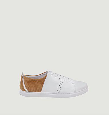 Sneakers basses en cuir et velours côtelé René