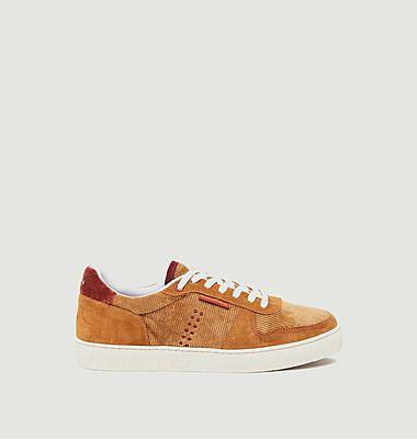 Sneakers basses en cuir suédé et velours côtelé Arthur