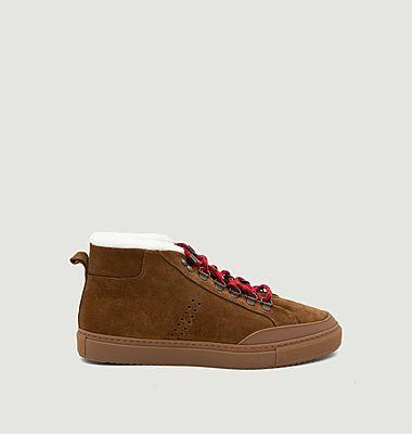 Sneakers mi-hautes fourrées en cuir suédé Christian