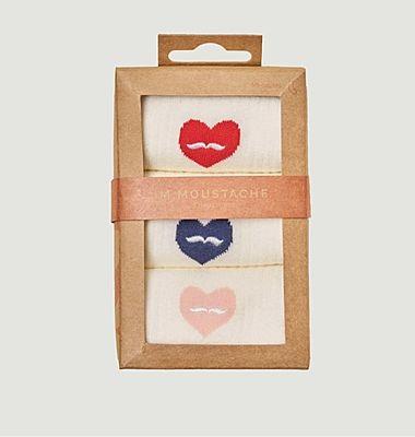 Pack de 3 paires de chaussettes motif cœur