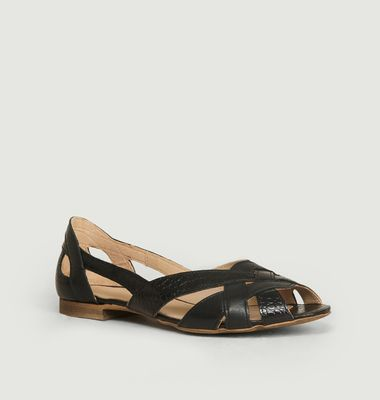 Clémentine Smooth And Croco Leather Sandals