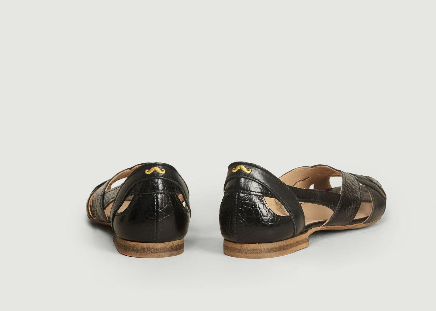 Sandales En Cuir Lisse Et Croco Clémentine - M. Moustache