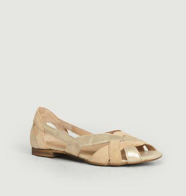 Sandales En Cuir Lamé Et Suédé Clémentine