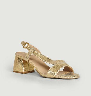 Sandales En Cuir Craquelé Delphine