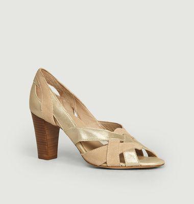 Sandales En Cuir Lamé Et Suédé Clémentine H