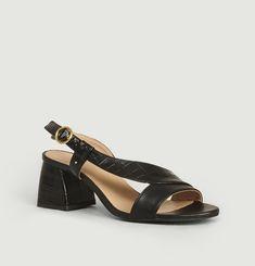 Delphine Croco Effect Leather Sandals