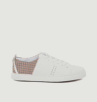 Sneakers cuir et tissu motif pied-de-poule René