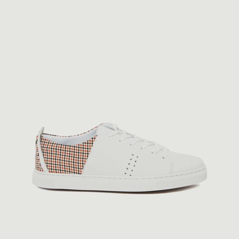 Sneakers cuir et tissu motif pied-de-poule René - M. Moustache