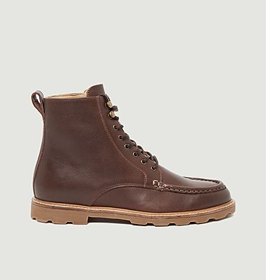 Lucas pull-up leather lace-up boots