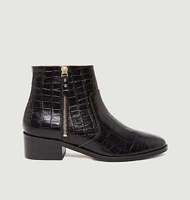 Coline croco effect leather boots