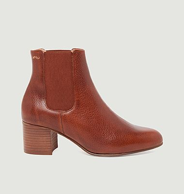 Bottines en cuir pull-up grainé Camille M.