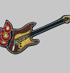Broche Guitare En Flamme