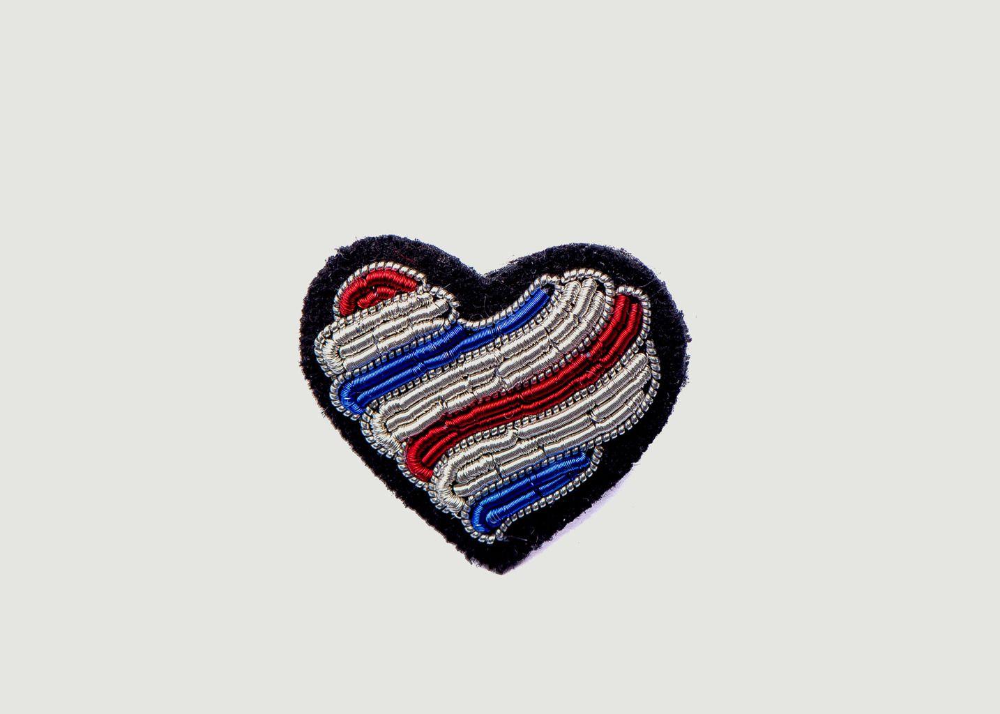 Broche Brodée Cœur Tricolore - Macon & Lesquoy