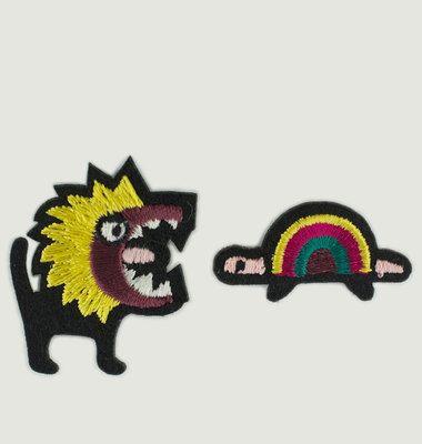 Lion & Tortoise Iron-On Patch Set