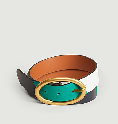 Tricolor leather belt