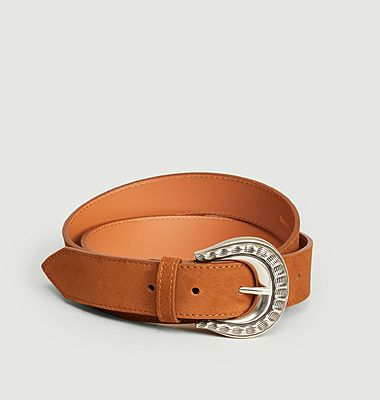 Suede leather belt with hammered buckle