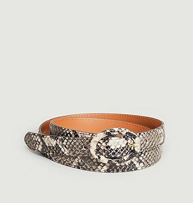 Python effect leather belt