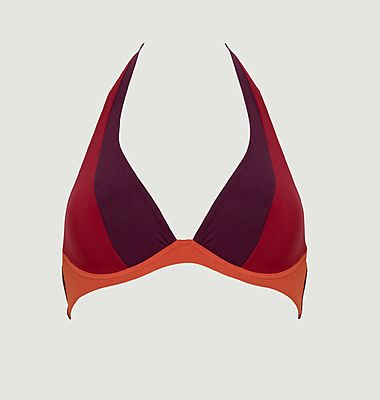Haut de maillot de bain triangle armaturé Colorblock