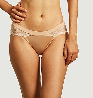 Shade microfiber and lace panties
